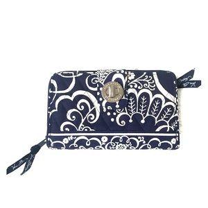 Vera Bradley Navy Blue Paisley Turnlock Wallet